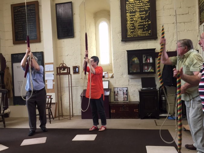 Cordelia and colleagues ringing the bells of St Oswald's Parish Church in Oswestry, Shropshire