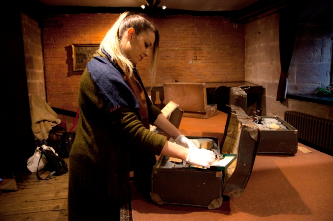 Art Gallery and Museum Studies student setting up the one-day public exhibition The Medicine Cabinet, using the collections of the Museum of Medicine and Health at Chetham's Library, December 2015. Over 200 people visited the exhibition during its one day at Chetham's