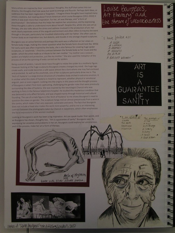 Alice Ryrie, Louise Bourgeois, Art Therapy and the Stream of Unconsciousness, 2014/15