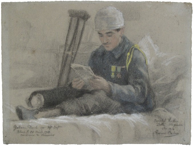 Rosine Cahen, Hospital Rollin (October 1918) 1918 Black charcoal, pastel and white highlights on laid paper © Jean-Yves Martel