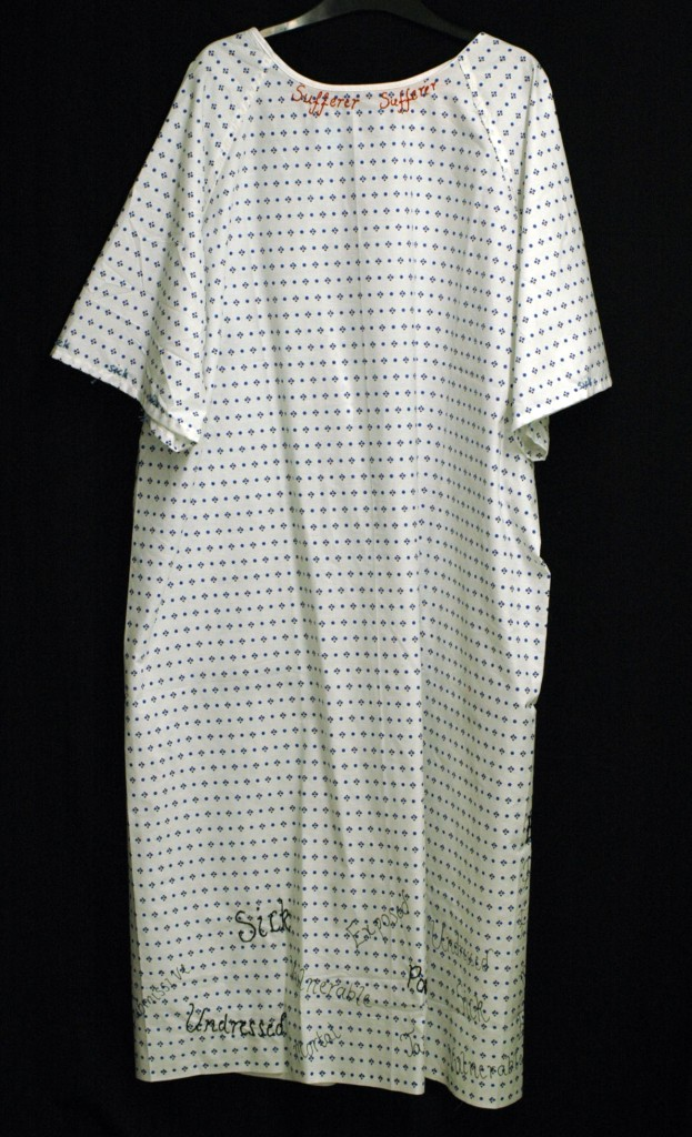 Gemma Wilson, Embroidered hospital gown (front)