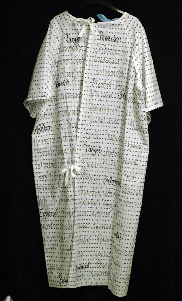 Gemma Wilson, Embroidered hospital gown (back)